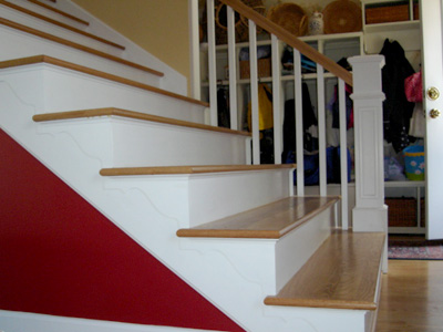 New Staircase With Painted Trim And Oak Treads   Detail.